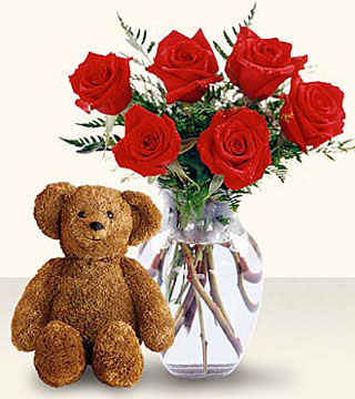 Six Red Roses in a Vase with Bear