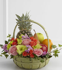 Pastel Fruit & Flowers Basket