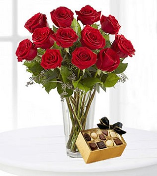 A Dozen Red Roses with Chocolates