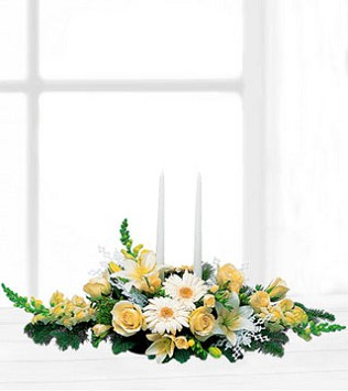 Two White Taper Centrepiece