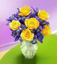 Iris & Yellow Rose Bouquet