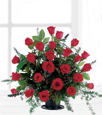 Blooming Red Roses Basket
