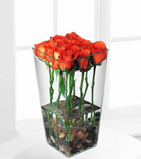 Orange Roses with River Rocks