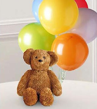 Large Bear with Balloons Bouquet