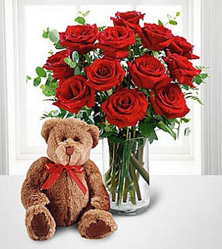 FTD's Red Roses and Hugs Bouquet