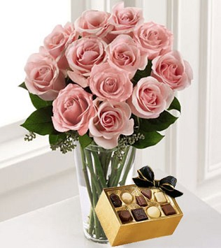 A Dozen Pink Roses with Chocolates